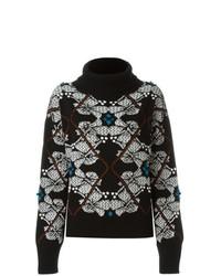 Jersey de cuello alto con print de flores en negro y blanco de Barrie