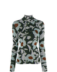 Jersey de cuello alto con print de flores verde de Christian Wijnants