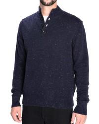 Jersey de cuello alto de botones azul marino