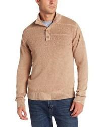 Jersey de cuello alto de botones marrón claro de Alex Stevens