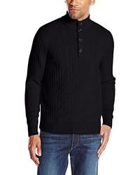 Jersey de cuello alto de botones negro de Savane