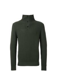Jersey de cuello alto de botones verde oscuro