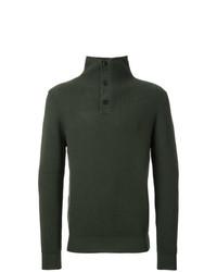 Jersey de cuello alto de botones verde oscuro de Kent & Curwen