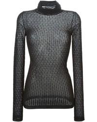 Jersey de cuello alto de encaje negro de Dolce & Gabbana