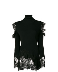 Jersey de cuello alto de encaje negro de Philipp Plein