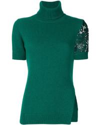 Jersey de cuello alto de encaje verde de No.21