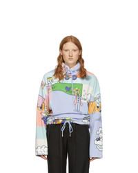 Jersey de cuello alto de forro polar en multicolor
