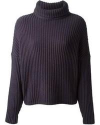 Jersey de cuello alto de lana azul marino de Dusan