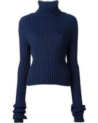 Jersey de cuello alto de lana azul marino