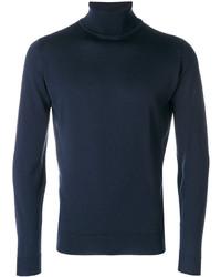 Jersey de cuello alto de lana azul marino de John Smedley