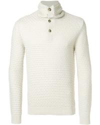 Jersey de cuello alto de lana blanco de Paolo Pecora