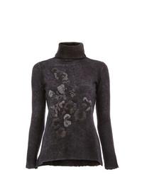 Jersey de cuello alto de lana con print de flores en gris oscuro de Avant Toi