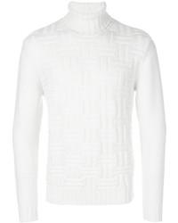 Jersey de cuello alto de lana con relieve blanco de Eleventy