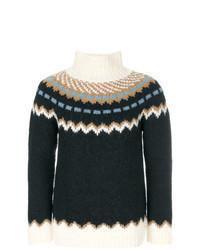 Jersey de cuello alto de lana de grecas alpinos azul marino