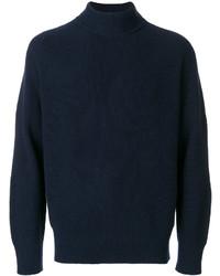 Jersey de cuello alto de lana de punto azul marino de Sacai