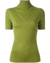 Jersey de Cuello Alto de Lana de Punto en Amarillo Verdoso de P.A.R.O.S.H.