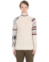 Jersey de cuello alto de lana de punto en beige