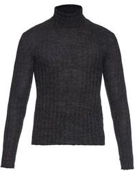 Jersey de cuello alto de lana de punto en gris oscuro