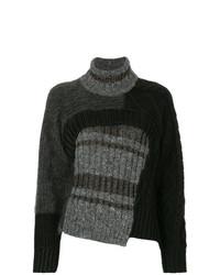 Jersey de cuello alto de lana de punto en gris oscuro de Kolor