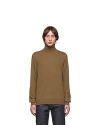 Jersey de cuello alto de lana de punto marrón