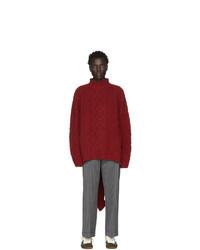 Jersey de cuello alto de lana de punto rojo