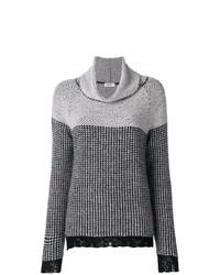 Jersey de cuello alto de lana de tartán en gris oscuro de Liu Jo