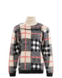 Jersey de cuello alto de lana de tartán en gris oscuro de Y/Project