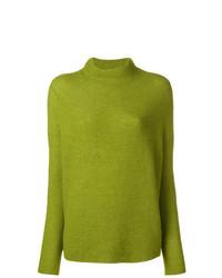 Jersey de cuello alto de lana en amarillo verdoso de Christian Wijnants