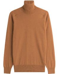 Jersey de cuello alto de lana en tabaco