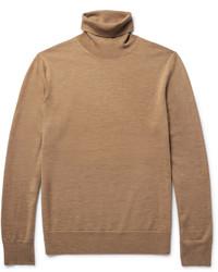 Jersey de cuello alto de lana marrón claro