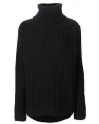 Jersey de cuello alto de lana negro de Ann Demeulemeester