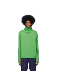Jersey de cuello alto de lana verde