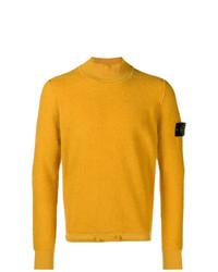 Jersey de cuello alto de punto amarillo de Stone Island