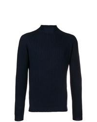 Jersey de cuello alto de punto azul marino de Dell'oglio