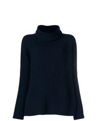 Jersey de cuello alto de punto azul marino de Odeeh
