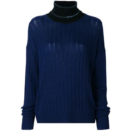 Jersey de cuello alto de punto azul marino de Prada