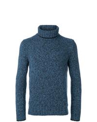 Jersey de cuello alto de punto azul de Dell'oglio