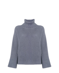 Jersey de cuello alto de punto azul de Fabiana Filippi