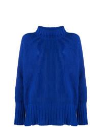 Jersey de cuello alto de punto azul de MSGM