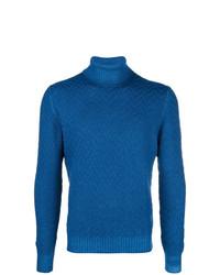 Jersey de cuello alto de punto azul de Tagliatore