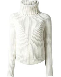Jersey de cuello alto de punto blanco de Alexander McQueen