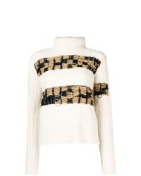 Jersey de cuello alto de punto en beige de Calvin Klein 205W39nyc