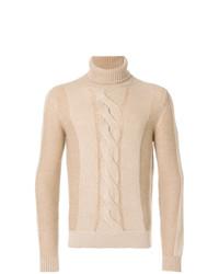 Jersey de cuello alto de punto en beige de Loro Piana