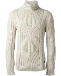 Jersey de cuello alto de punto en beige de Woolrich