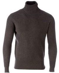 Jersey de cuello alto de punto en gris oscuro
