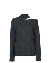Jersey de cuello alto de punto en gris oscuro de RtA