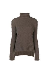Jersey de cuello alto de punto en marrón oscuro de Borgo Asolo