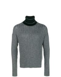 Jersey de cuello alto de punto gris de Prada