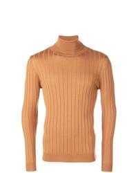 Jersey de cuello alto de punto marrón claro de Barena