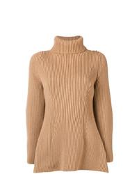 Jersey de cuello alto de punto marrón claro de Nehera